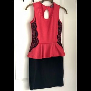 Dresses & Skirts - Red and black peplum dress with black lace